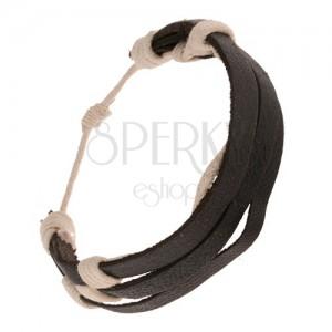 Fekete bőr karkötő - három sáv fehér madzaggal körbetekerve