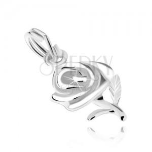 Rózsa virág két levélkével, medál 925 ezüstből