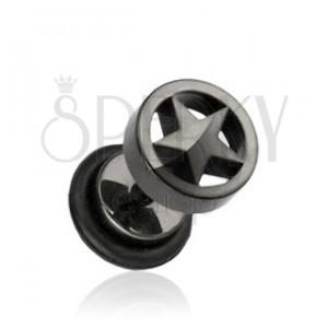 Fekete hamis plug fülbe acélból, csillag a karikában