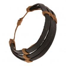 Fekete bőr karkötő - három sáv barna madzaggal körbetekerve