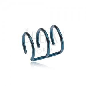 Acél fake piercing fülbe kék színben - három karika