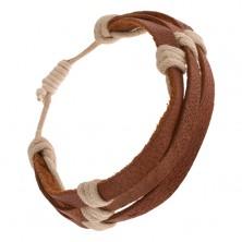 Karkötő - három gesztenyebarna bőrsáv bézs zsinórral körbecsavarva