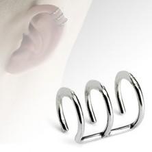 Hamis piercing fülbe acélból, három fényes karika
