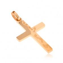 Oceľový prívesok zlatej farby, gravírovaný kríž, odtlačky nôh, úzke očko