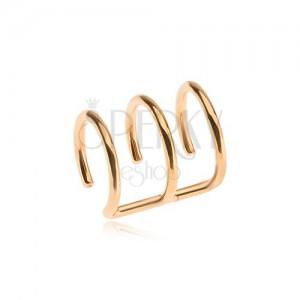 Acél fake piercing arany színben, hármas karika