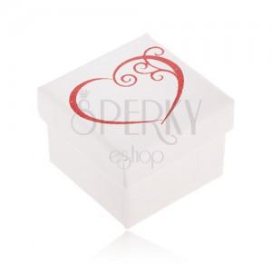 Ajándékdobozka ékszerre, fehér színben, piros szív kontúr