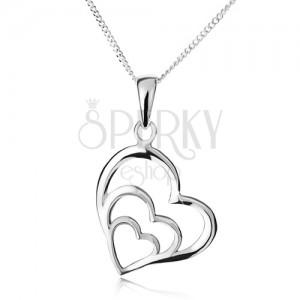 Nyakék - lánc és három egyenetlen szív körvonal, 925 ezüst