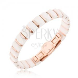 Karkötő - fehér téglalap alakú kerámia részek, rózsaszínarany sávok
