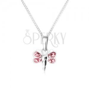 Nyaklánc szitakötő medállal, rózsaszín cirkóniás szárnyakkal, 925 ezüst