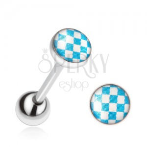 Piercing nyelvbe acélból, kék-fehér sakktábla minta
