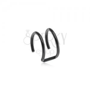 Acél fake piercing fülbe, fekete színben - két karika