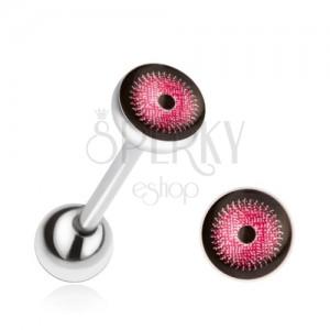 Acél piercing nyelvbe, rózsaszín-fekete szem