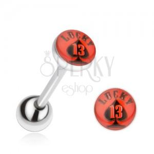 Piercing nyelvbe acélból, piros-fekete kép Lucky 13