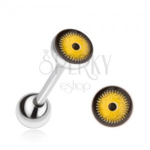 Acél nyelvpiercing, sárga-fekete szem