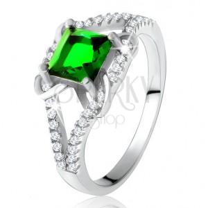 925 ezüst gyűrű, négyzetes zöld cirkónia, kettős szárak, X