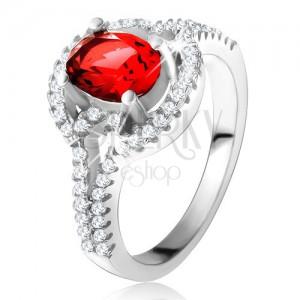 Gyűrű piros, ovális cirkóniával, kettős, lekerekített szárak, 925 ezüst