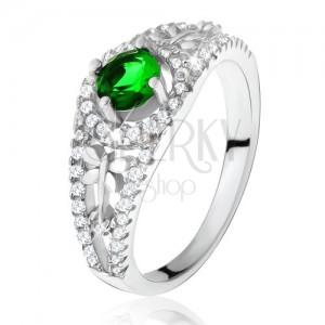 Átlátszó cirkóniás gyűrű, zöld kővel, szitakötők, 925 ezüst