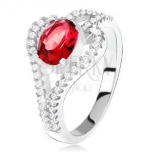 Gyűrű 925 ezüstből, ovális, piros kő, átlátszó levél kontúr