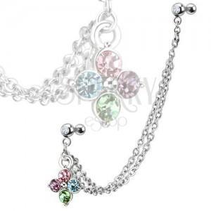 Piercing fülbe acélból, színes, cirkóniás virág, kettős lánc