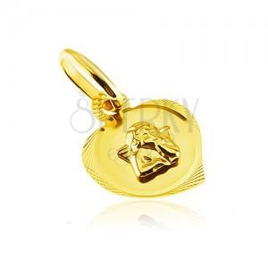 Medál 14K aranyból - gravírozott szív körvonal kiemelkedő angyallal