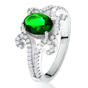 Gyűrű 925 ezüstből, ovális, zöld kő, tekert, cirkóniás szárak