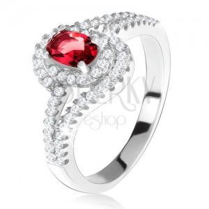 Gyűrű 925 ezüstből, piros kő ketettel, hullámos, cirkóniás szárak