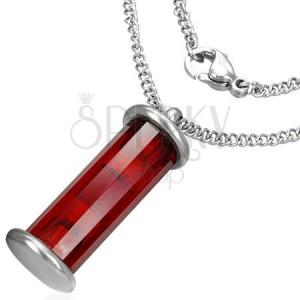 Piros henger alakú cső medál acél láncon