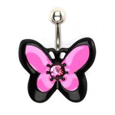 Köldökpiercing acélból, rózsaszín-fekete lepke, cirkóniával