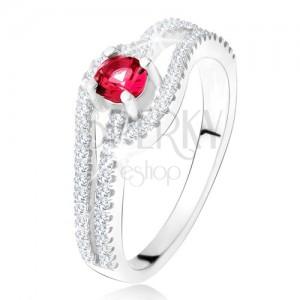 Gyűrű hullámos cirkóniás szárakkal, piros kő, 925 ezüst