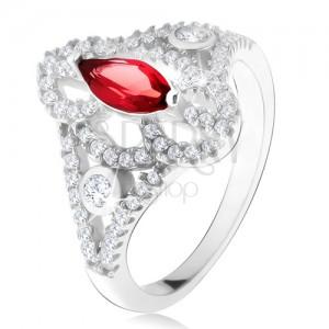 925 ezüst gyűrű, magszem alakú piros kő, kivágott cirkóniás szárak