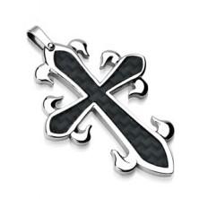 Medál sebészeti acélból - díszes kereszt, fekete mintázat