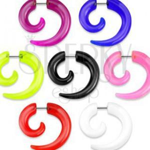 Hamis expander fülbe - fényes, akryl spriál