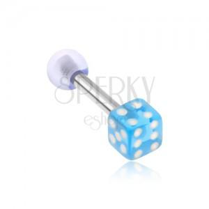 Acél piercing tragusba, akryl játék kocka, átlátszó kék