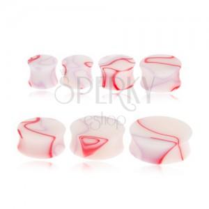 Akryl nyerges plug fülbe - fehér, piros-lila márványos motívummal