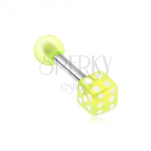 Piercing tragusba - zöld játék kocka