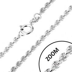 Nyaklánc 925 ezüstből, spirálosan összekapcsolt szemek, 1,4 mm