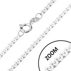 Nyaklánc 925 ezüstből - összekapcsolt S minta, fényes, 1 mm