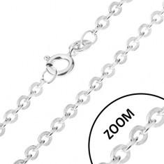 Lánc felváltva összekapcsolt kerek szemekből, ezüst 925, 1,2 mm