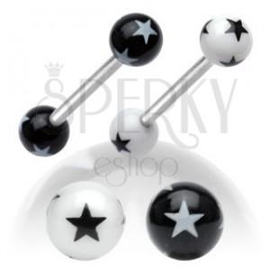 Acél piercing nyelvbe, fekete-fehér akril golyók csillagokkal