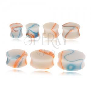 Akril plug fülbe, bézs szín, kék-narancs vonalak