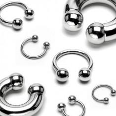 Félkör piercing sebészeti acélból, golyók