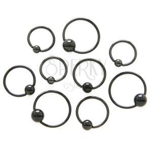 Fényes piercing sebészeti acélból - fekete karika golyóval