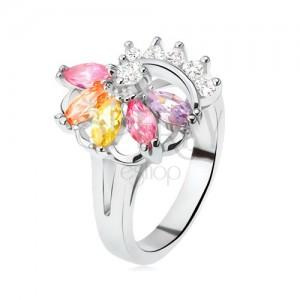 Ezüst színű gyűrű, legyező színes kövekből, átlátszó cirkóniák