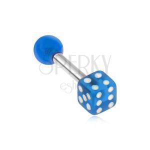 Acél piercing tragusba, akryl, átlátszó, kék játék kocka