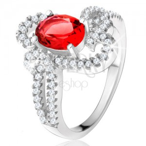 925 ezüst gyűrű, piros kő, díszesen csavart cirkóniás szárak