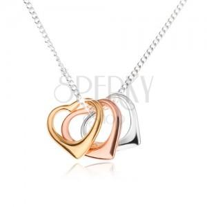 Nyakék - három szívkörvonal és aprószemű lánc, 925 ezüst