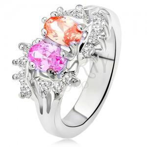 Fényes gyűrű ezüst színben, két színes kő, kis átlátszó cirkóniák