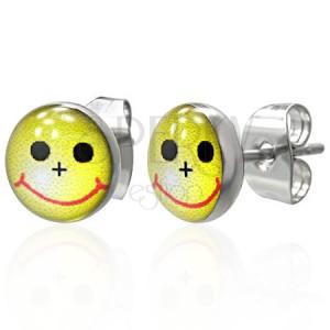 Kis kerek fülbevaló - sárga smiley