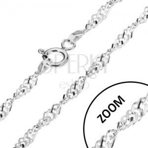 Csavart lánc szögletes szemekből, 925 ezüst, 2 mm