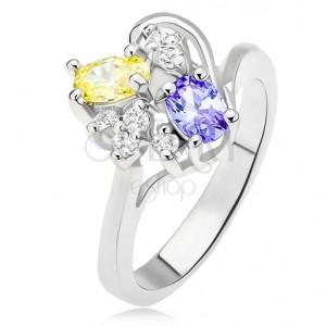 Gyűrű lila és sárga ovális kövekkel, átlátszó cirkóniák